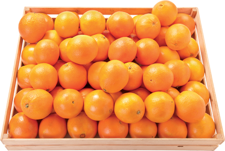 Tangerines juicy fruit in a box background