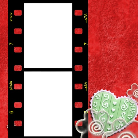 christmas movies: marco movie negative for two photos flowers and heart Stock Photo