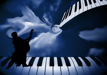 background music piano and double bass Stock Photo