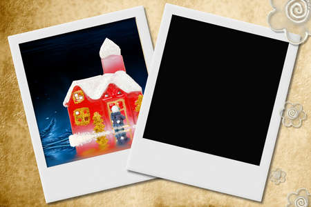 Two snapshots, one with space for photo, with Christmas decoration   photo
