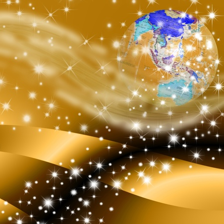 peace and love: christmas planet earth and stars on purple background Stock Photo