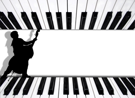 white musical background playing piano and bass musician  photo