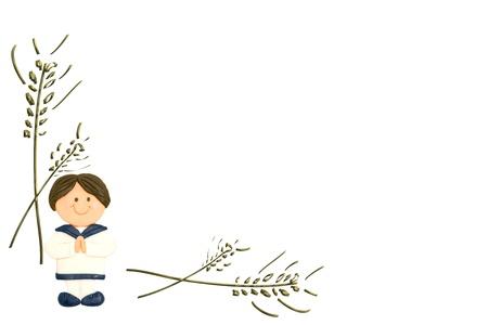 cresima: bambino di prima comunione e dorate spighe di grano su sfondo bianco