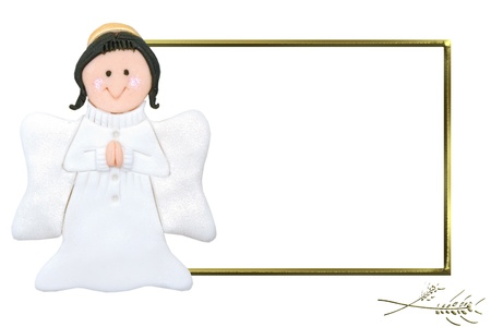 angel with a golden frame isolated on white background  photo