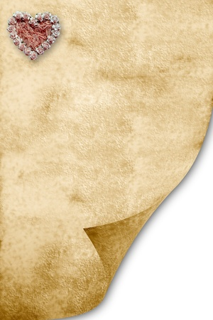 isolated piece of parchment with a small heart Stock Photo - 9131311