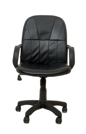 black office chair with wheels isolated  photo