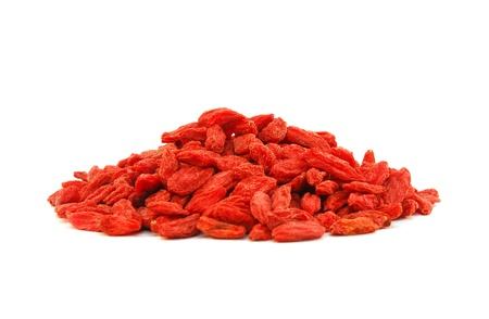 pile of goji berries isolated on white background  Stock Photo