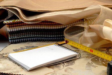 fabric catalogs, metro and book for interior decoration