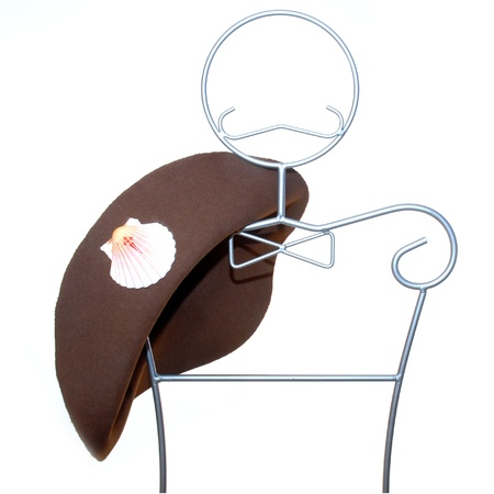 santiago pilgrim hat on a mannequin isolated on white background Stock Photo - 9171489