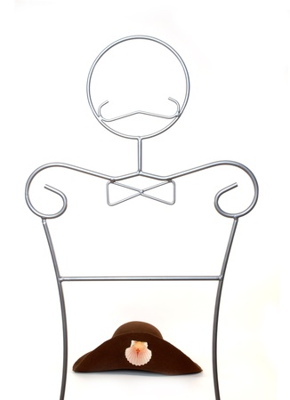 santiago pilgrim hat on a mannequin isolated on white background  Stock Photo - 9171488
