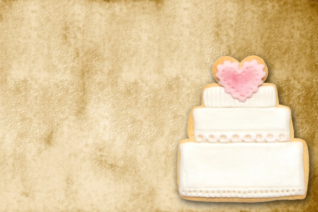 shaped cookie wedding cake on beige background