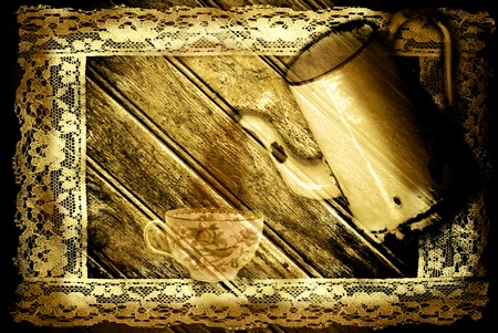 ancient coffee maker and cup of coffee in a  sepia tone photo