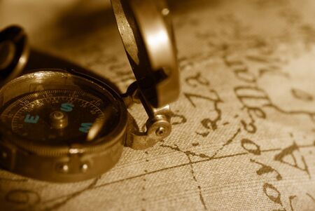 ancient compass and map in sepia tone  Stock Photo