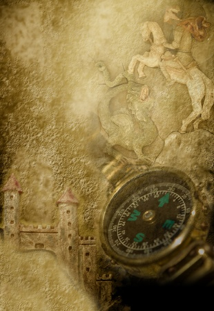 sepia parchment with compass, castles and medieval knight