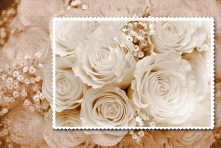 composition romantic bouquet of old fashioned roses  photo
