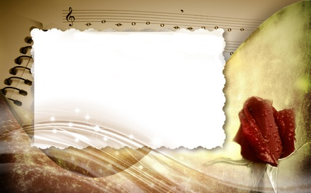 old background music score and flower romantic  Stock Photo