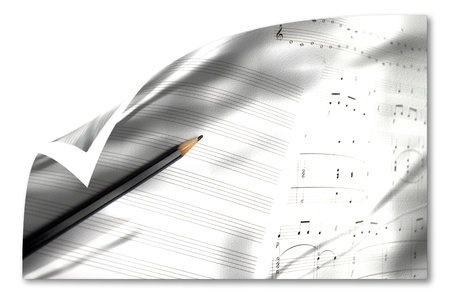 score of classical music and old pencil isolated