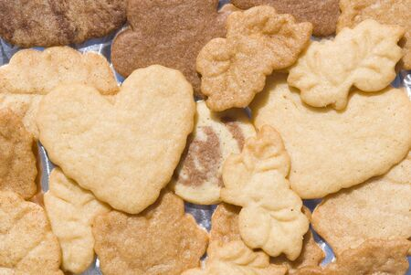 shortbread bottom with heart-shaped leaves photo