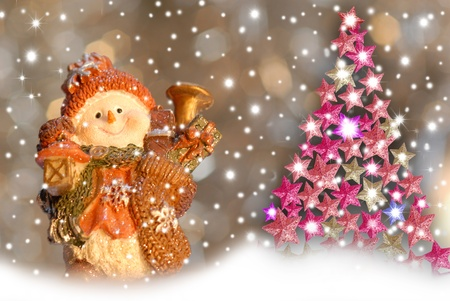 Christmas greeting cards, cute snowman and fir stars photo