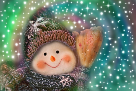 snowman: christmas card, funny snowman on background stars Stock Photo