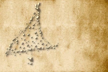 Christmas Card, parchment christmas tree sepia golden drops photo