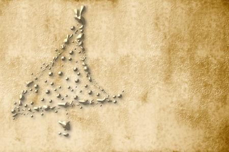 Christmas Card, pergamena albero di natale d'oro seppia gocce Archivio Fotografico - 10629958
