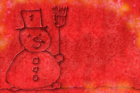 winter party: bambino disegnare un pupazzo di neve su sfondo rosso