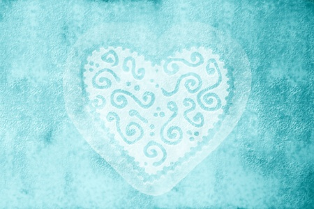 rustic blue background with a heart photo