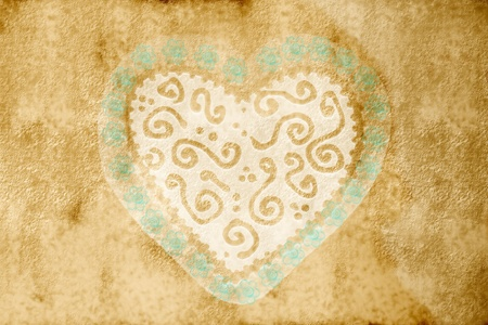 sepia pattern card with great heart with blue flowers Stock Photo - 10644499