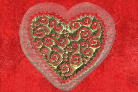 large heart carved in gold on scarlet Stock Photo - 10682890