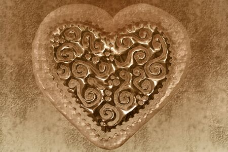 transparent heart background in sepia tone Stock Photo - 10682888