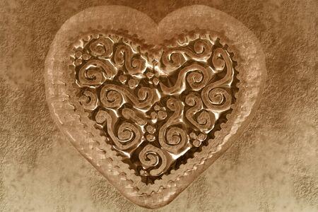 heart tone: transparent heart background in sepia tone
