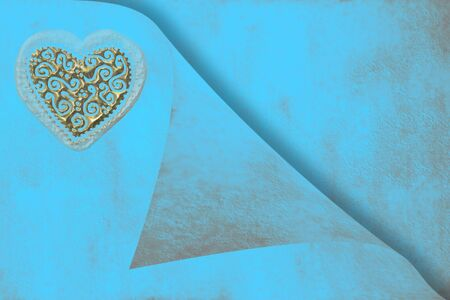 wedding invitation card, gold heart on blue paper Stock Photo - 10682885