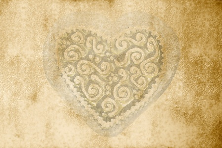 sepia parchment background with a clear heart photo