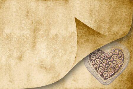 wedding invitation card, a parchment paper heart