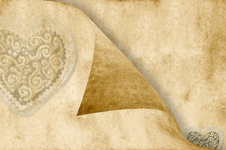 love in sepia tone background with two hearts photo