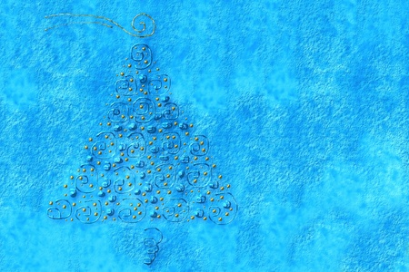 Christmas background, drawn on a blue fir photo