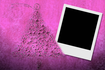 Christmas background illustration on pink background with frame for instant photo and fir illustration
