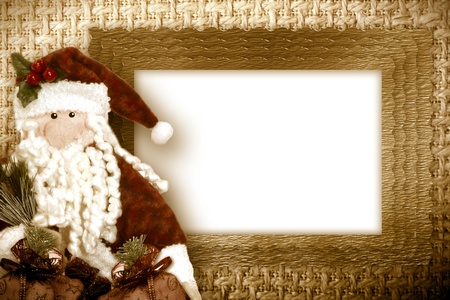 christmas card santa white space framed with gold border  photo
