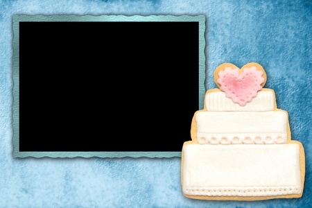 background picture frame wedding with wedding cake photo
