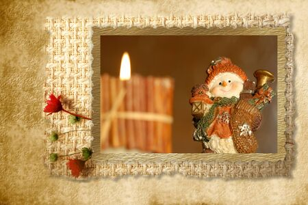 Christmas Cards snowman picture frame and rustic background Stock Photo - 10874878