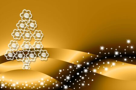 Christmas tree made of flowers on gold background with stars photo