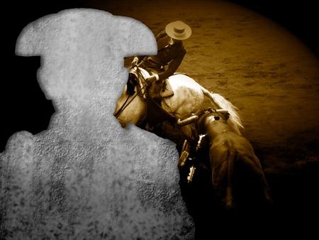 bullfight poster, silhouette of bullfighting and bullfighting on horseback
