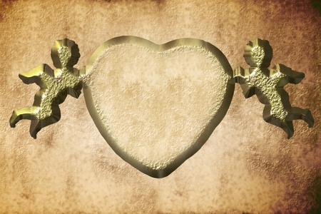 heart and golden angels on sepia paper photo