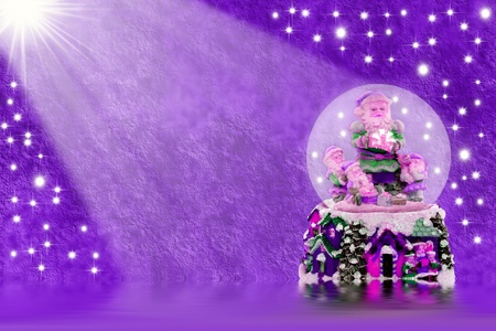 Christmas background purple with crystal ball santa Stock Photo - 10874889