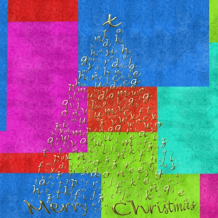 moderm: Christmas tree with gold letters of the alphabet on colorful background