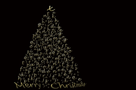 fir Christmas card in gold letters on black background Stock Photo