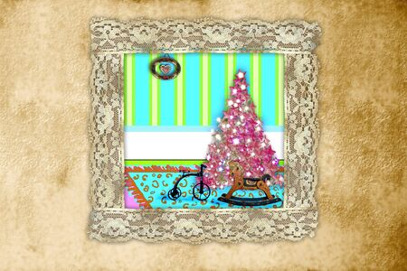 Christmas tree and gifts at home, with lace frame a sepia background photo