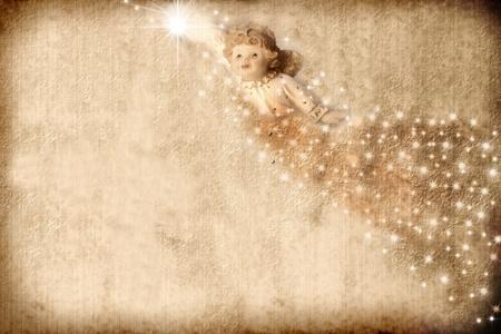 cartoline vittoriane: Vecchio sfondo Natale in tono seppia, angel e stelle