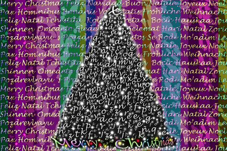 colorful Christmas greeting in several languages ??in gold letters and Christmas tree Stock Photo - 10948846